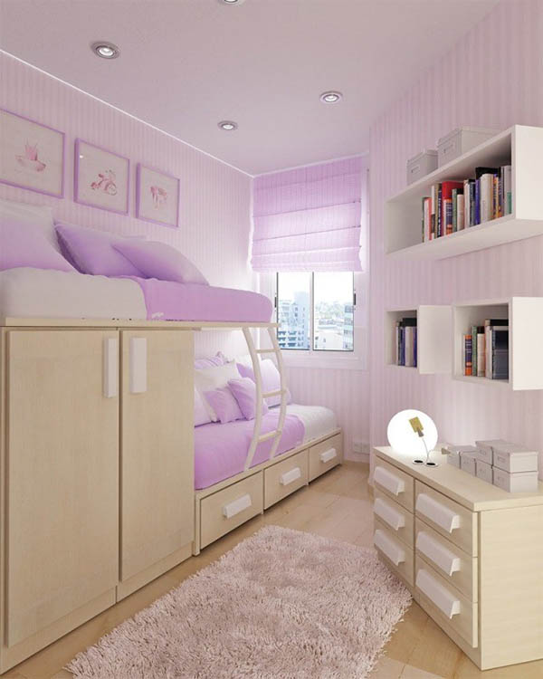 Small Purple Room With A Loft Bed