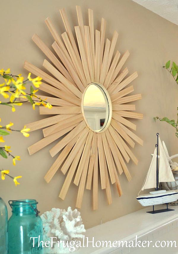 Sunburst mirror decorating ideas #diy #mirror #diymirror #cheapmirror #decorhomeideas