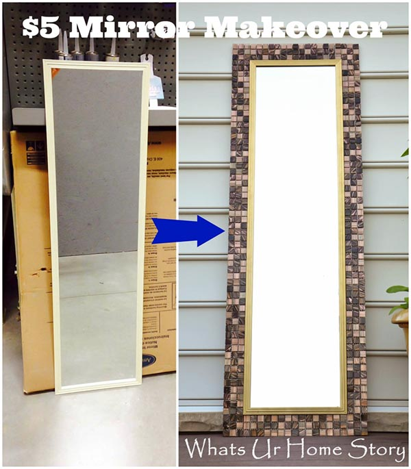 Tiles mirror cheap DIY project #diy #mirror #diymirror #cheapmirror #decorhomeideas