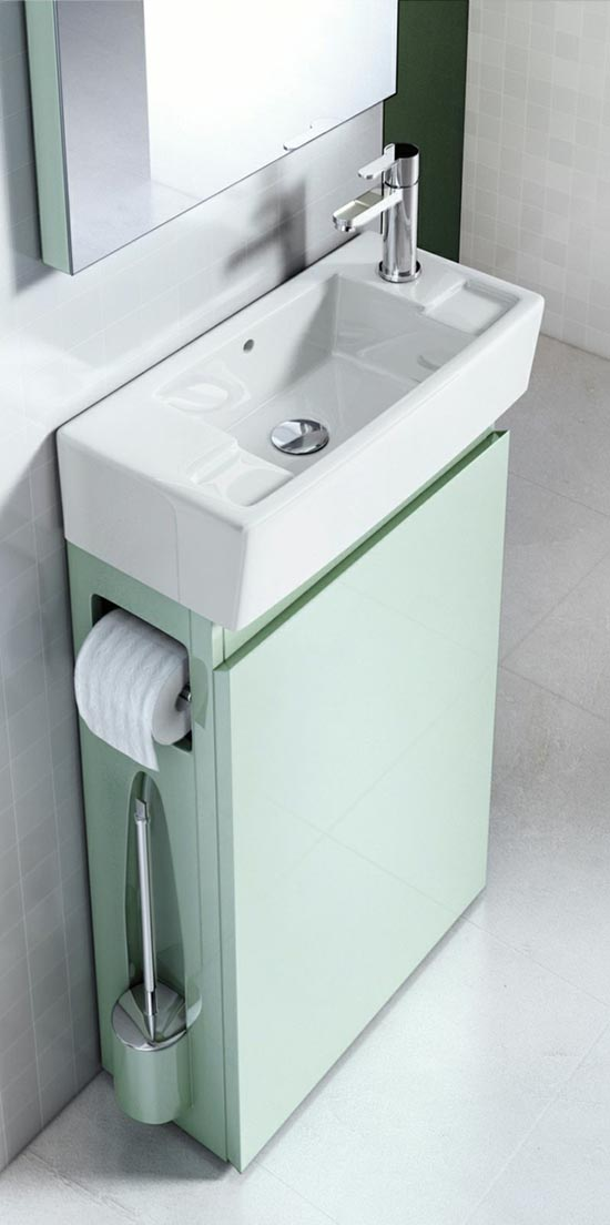 Tiny sea foam narrow vanity idea #vanity #bathroomvanity #vanityideas #bathroom #bathroomideas #storage #organization #decorhomeideas
