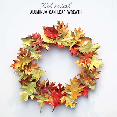 Aluminum Can Leaf Wreath #craft #fall #falldecor #falldecorideas #decorhomeideas