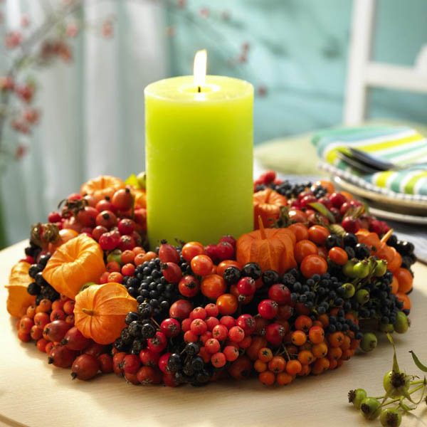 Candle wreath fall decoration #falldecor #fallideas #candles #candlesdecor #decorhomeideas