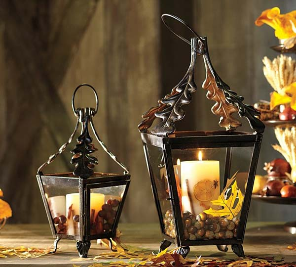Candles in lanterns #falldecor #fallideas #candles #candlesdecor #decorhomeideas