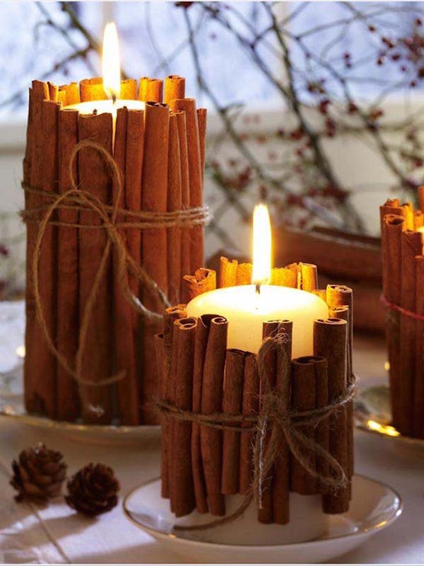 Cinnamon fall decor candles #craft #fall #falldecor #falldecorideas #decorhomeideas