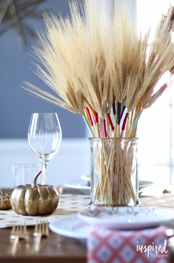 Color wrapped wheat fall decor #craft #fall #falldecor #falldecorideas #decorhomeideas