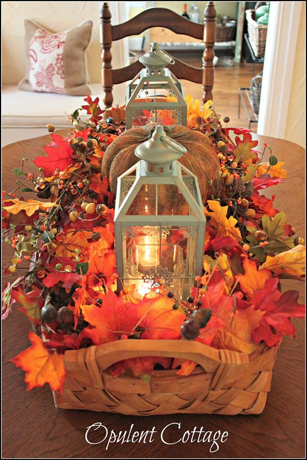 DIY Fall centerpiece harvest basket #fallcenterpiece #falldecor #diy #falldecoration #thanksgiving #decorhomeideas