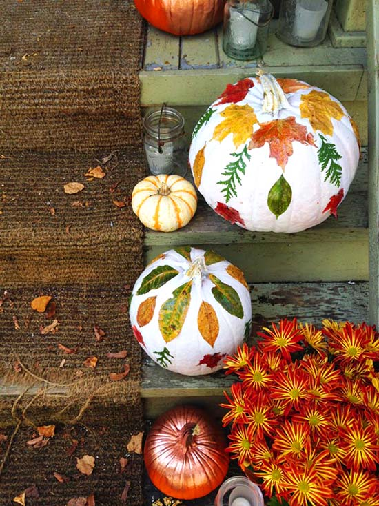 DIY Foliage Pumpkin fall craft ideas #craft #fall #falldecor #falldecorideas #decorhomeideas
