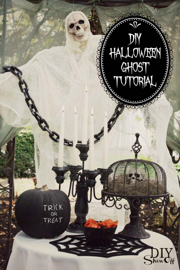 DIY Halloween Ghost #halloweendecorations #halloween #diyhalloween #halloweendecor #decorhomeideas