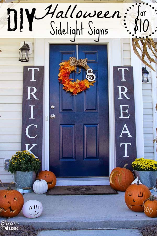 DIY Halloween Sign Trick or Treat #halloweendecorations #halloween #diyhalloween #halloweendecor #decorhomeideas