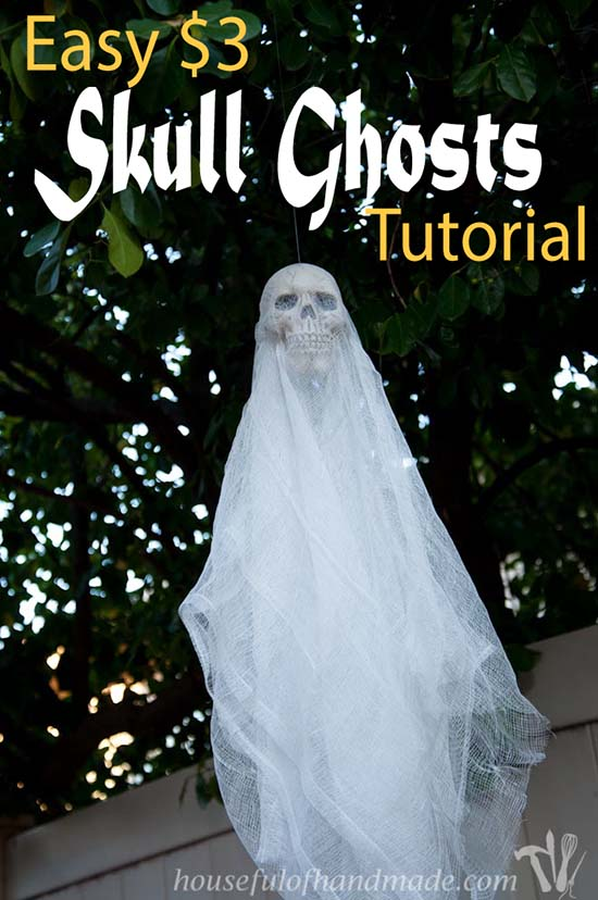 DIY Halloween Skull Ghost #halloweendecorations #halloween #diyhalloween #halloweendecor #decorhomeideas