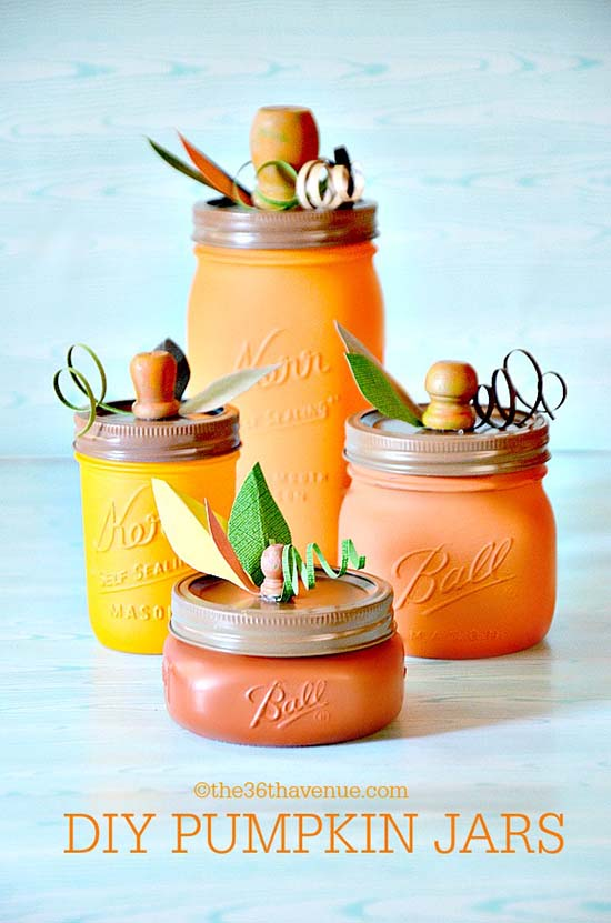 DIY Pumpkin Mason Jar #craft #fall #falldecor #falldecorideas #decorhomeideas #masonjar