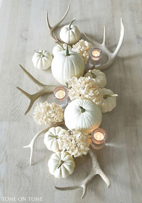 DIY antler centerpiece #fallcenterpiece #falldecor #diy #falldecoration #thanksgiving #decorhomeideas #antler #pumpkin