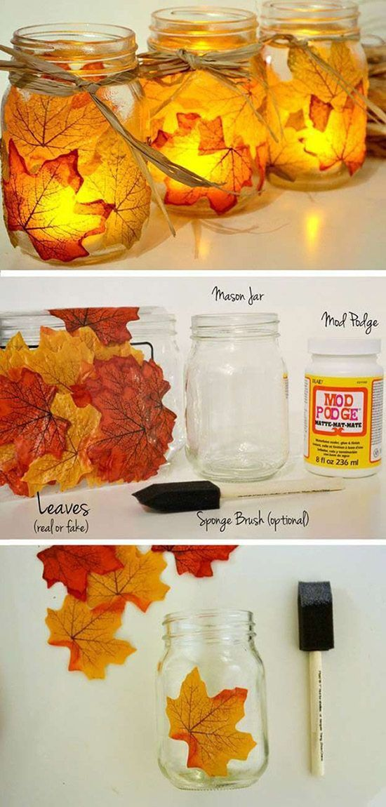 DIY fall decorated jars with leaves #craft #fall #falldecor #falldecorideas #decorhomeideas