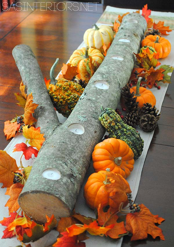 DIY log fall centerpiece #fallcenterpiece #falldecor #diy #falldecoration #thanksgiving #decorhomeideas