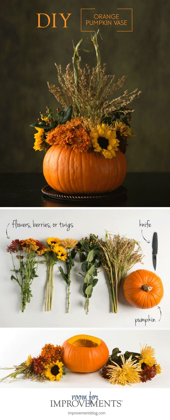 DIY orange pumpkin vase fall decor centerpiece #fallcenterpiece #falldecor #diy #falldecoration #thanksgiving #decorhomeideas #pumpkin