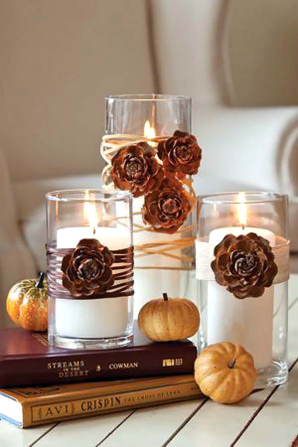 Fall candle decoration #falldecor #fallideas #candles #candlesdecor #decorhomeideas
