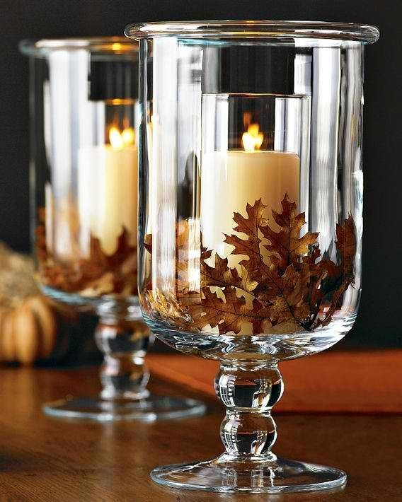 Fall candles in glasses #falldecor #fallideas #candles #candlesdecor #decorhomeideas