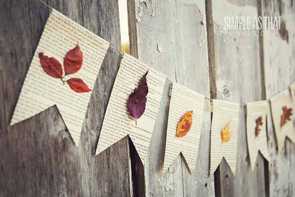 Fall leaf book page banner #craft #fall #falldecor #falldecorideas #decorhomeideas