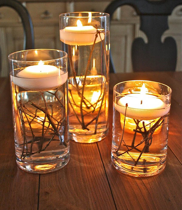 Floating fall candles #falldecor #fallideas #candles #candlesdecor #decorhomeideas