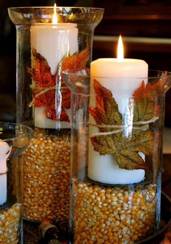 Glass container corn candle decor #falldecor #fallideas #candles #candlesdecor #decorhomeideas