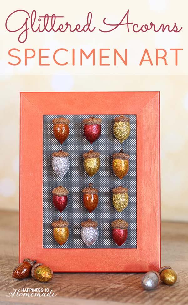 Glittered Acorn Art #craft #fall #falldecor #falldecorideas #decorhomeideas