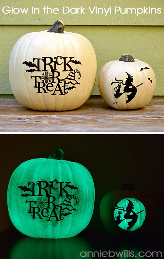 Glow in the Dark Vinyl Pumpkins #halloweendecorations #halloween #diyhalloween #halloweendecor #decorhomeideas