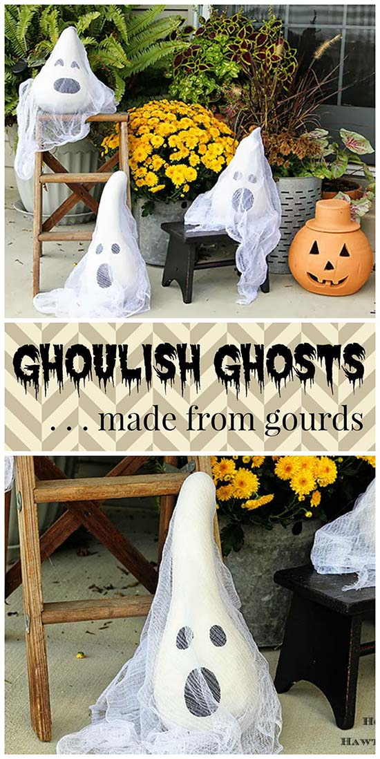 Halloween Gourd Ghosts Outdoor Decoration #halloweendecorations #halloween #diyhalloween #halloweendecor #decorhomeideas