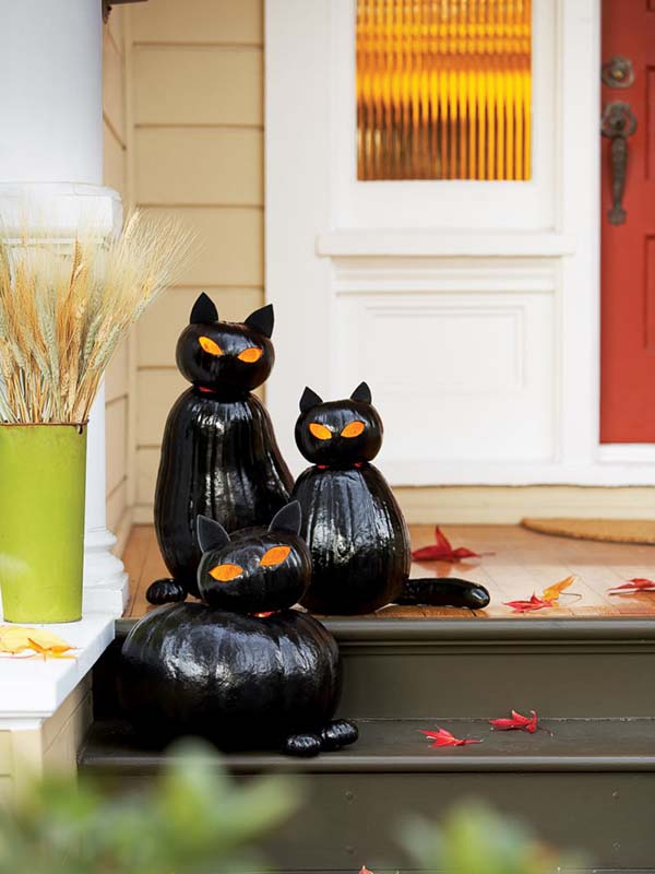 Halloween black cat pumpkins outdoor decoration #halloweendecorations #halloween #diyhalloween #halloweendecor #decorhomeideas