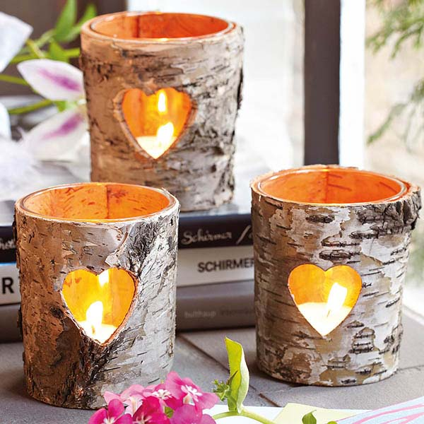 Heart shaped fall candle decorations