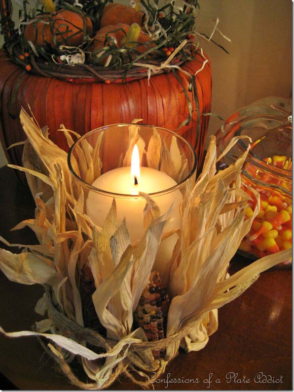 Indian Corn Candle Decoration #falldecor #fallideas #candles #candlesdecor #decorhomeideas