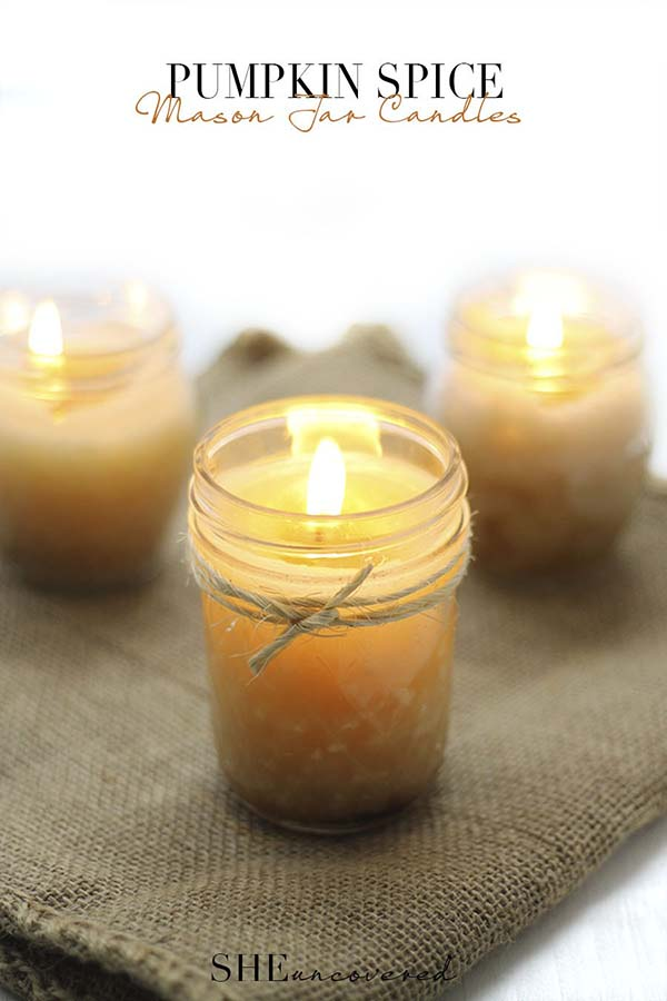 Mason Jar Pumpkin Spice Candles #craft #fall #falldecor #falldecorideas #decorhomeideas