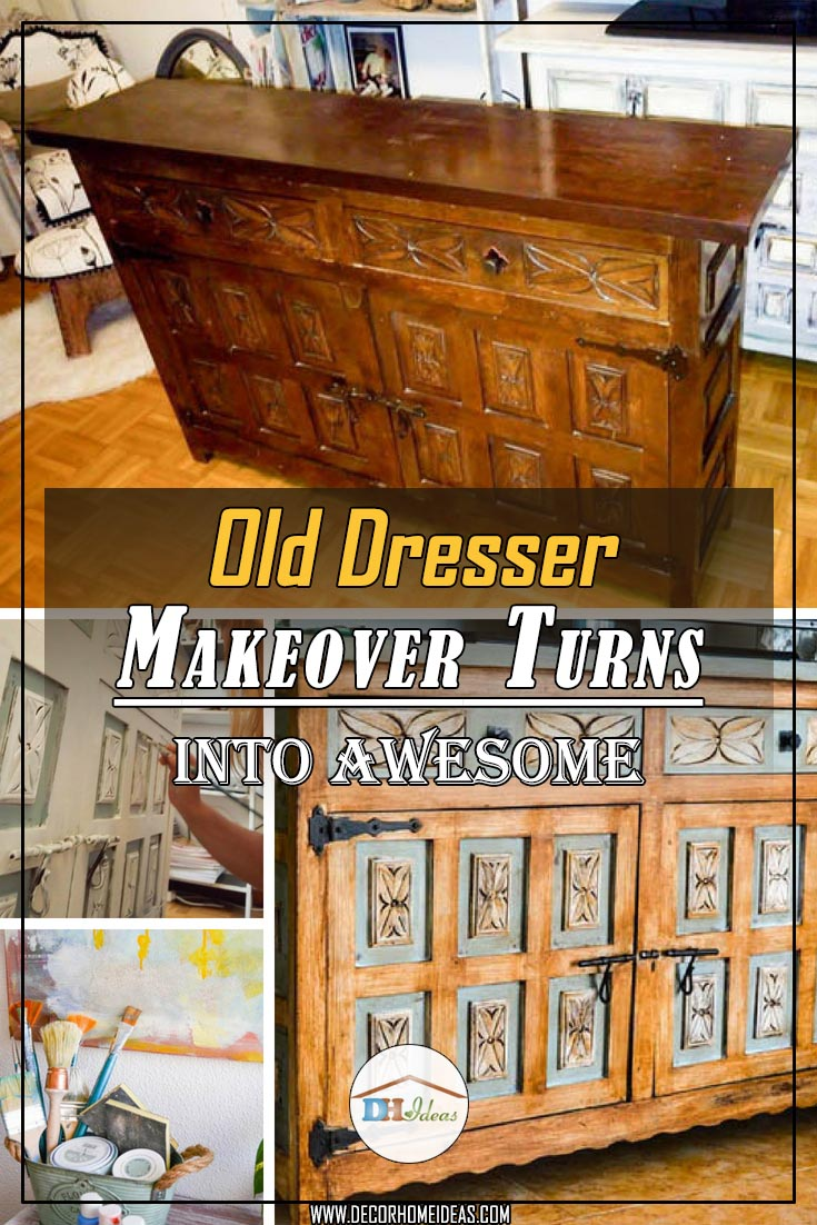 Old dresser turned into masterpiece #makeover #dresser
