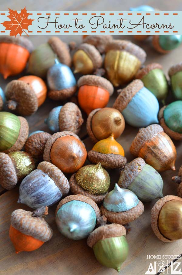 DIY Painted Acorns fall crafts #craft #fall #falldecor #falldecorideas #decorhomeideas