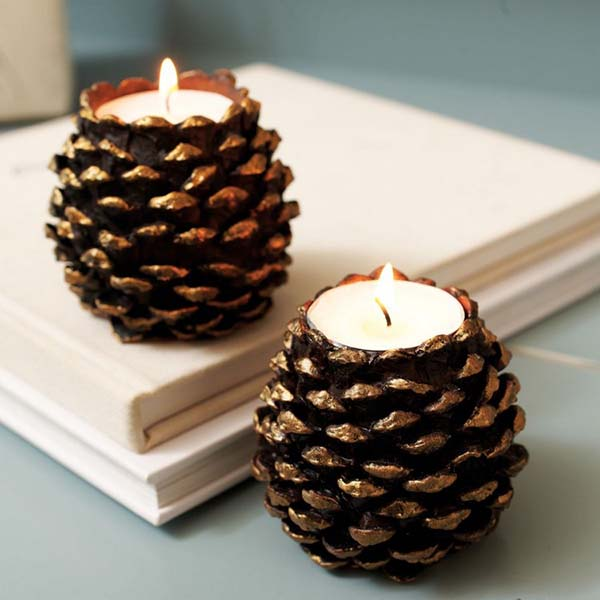 Pinecone fall candles decoration #falldecor #fallideas #candles #candlesdecor #decorhomeideas