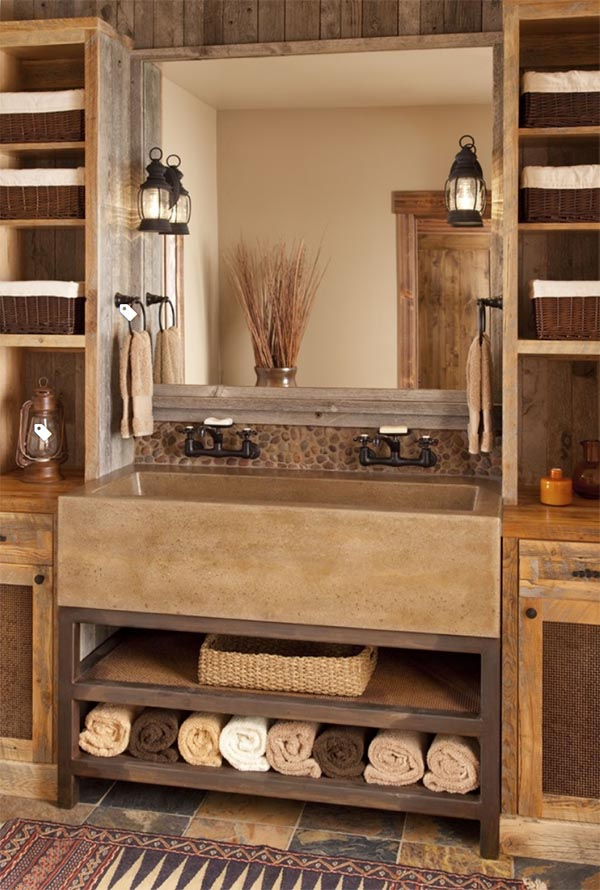 Rustic bathroom with concrete trough sink #troughsink #bathroom #sink #concretesink #bathroomideas #decorhomeideas