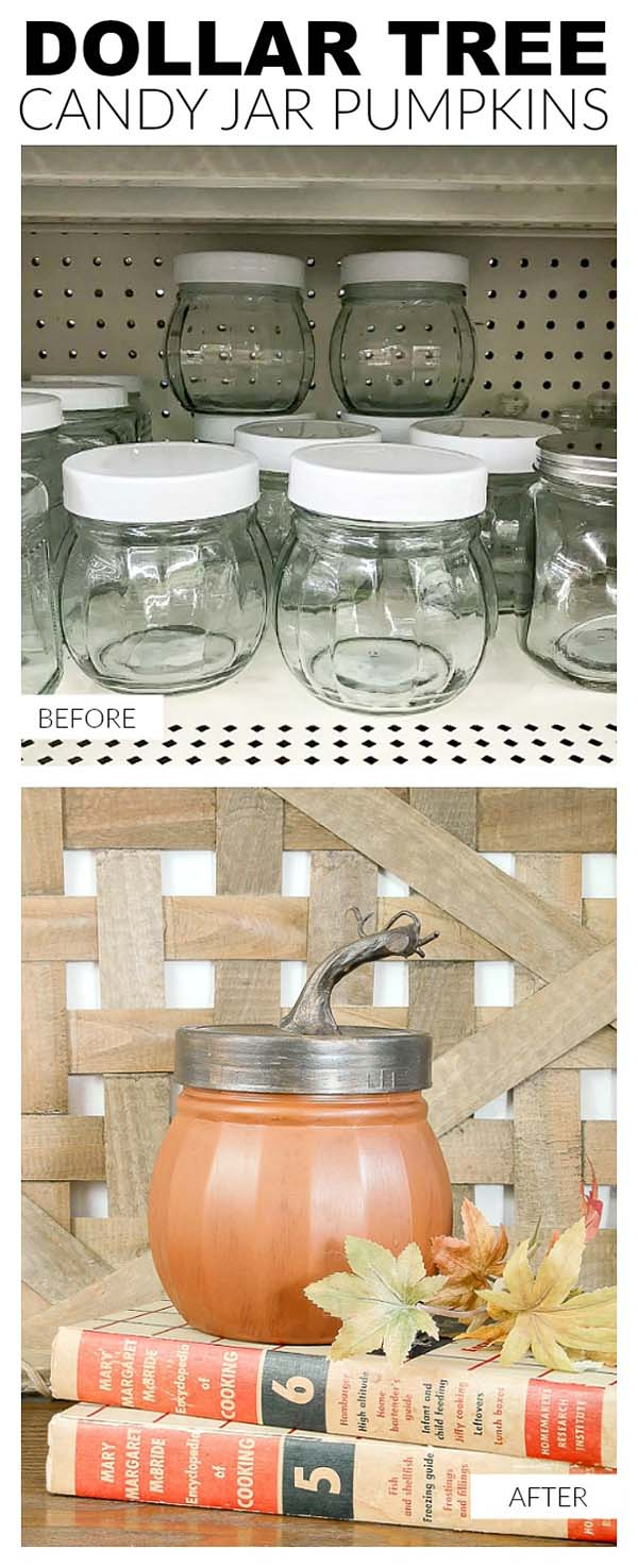 Storage Jars Pumpkins #craft #fall #falldecor #falldecorideas #decorhomeideas