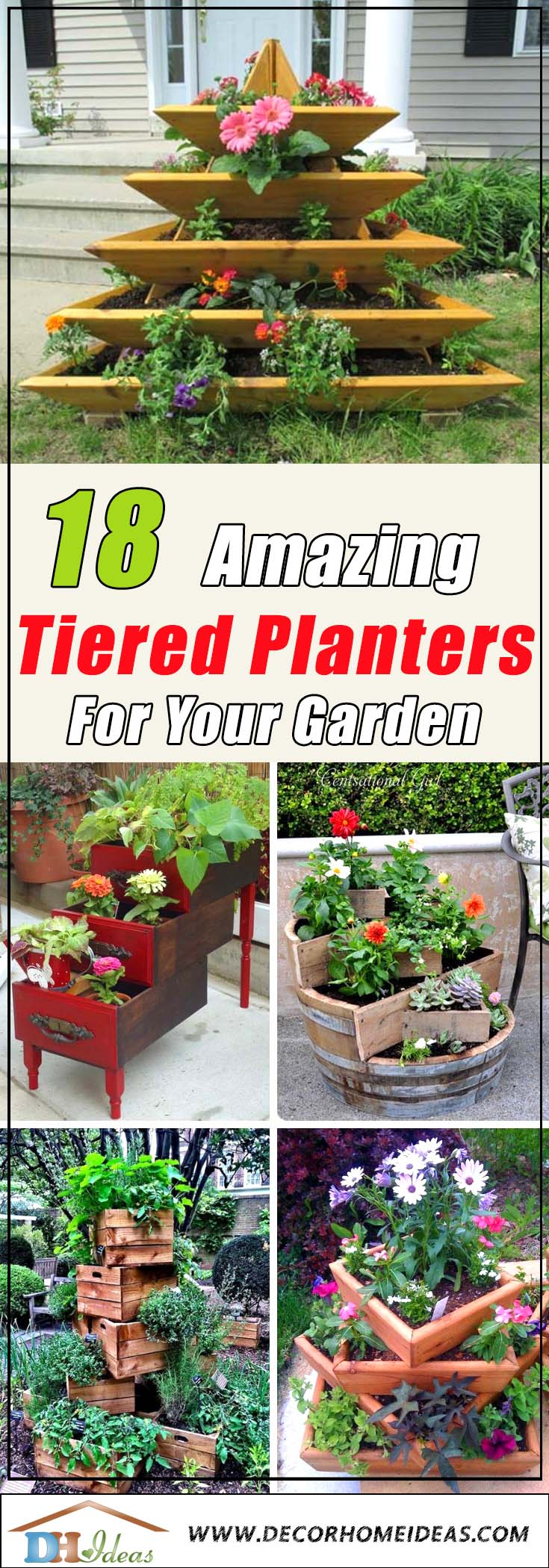 18 Amazing Tiered Planter Ideas #tieredplanter #flowerplanter #planter #flowerpot #decorhomeideas