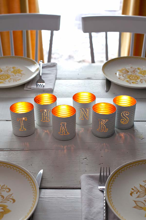 Tin Punched Candles Fall Decor #craft #fall #falldecor #falldecorideas #decorhomeideas