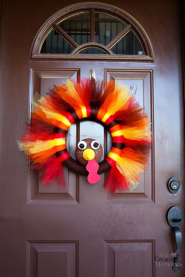 Turkey Tulle Wreath Fall Decor Craft #craft #fall #falldecor #falldecorideas #decorhomeideas