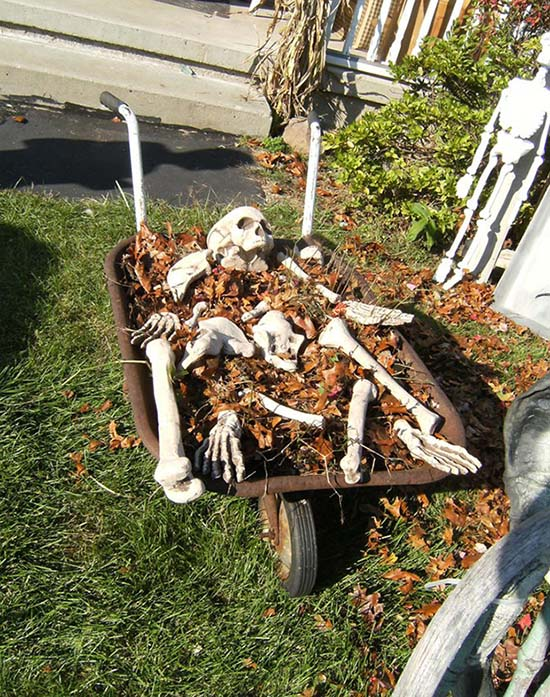 Wheelbarrow Skeleton Halloween decoration #halloweendecorations #halloween #diyhalloween #halloweendecor #decorhomeideas