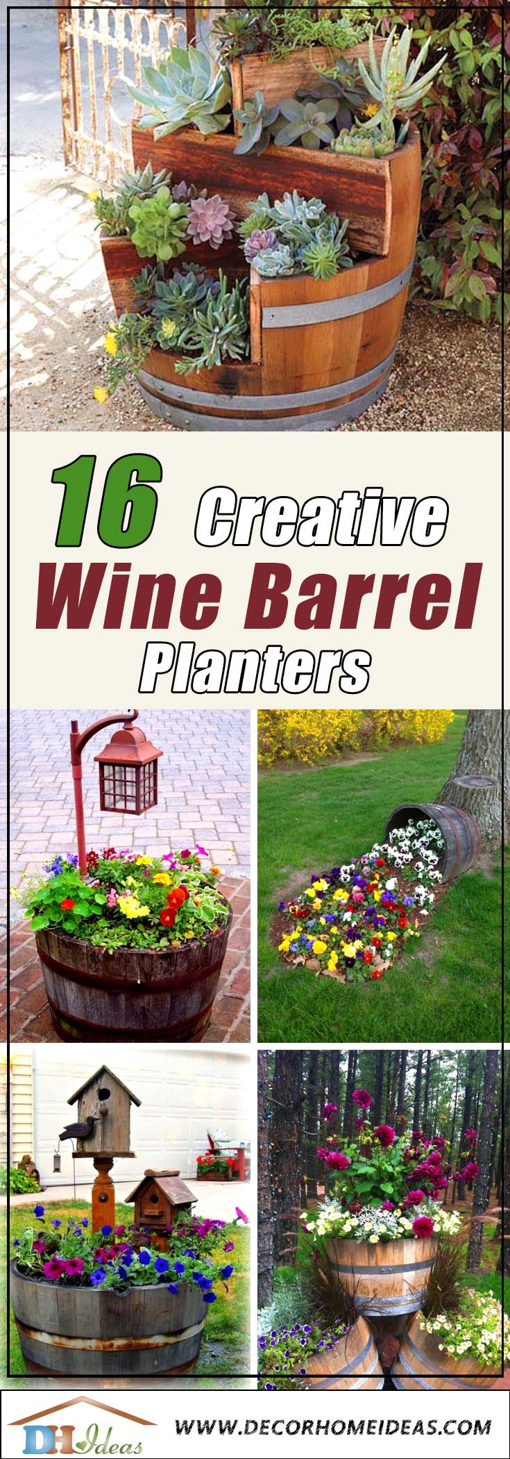 16 Easy To Make Affordable Wine Barrel Planters #diy #winebarrel #flowerplanter #repurpose #decorhomeideas