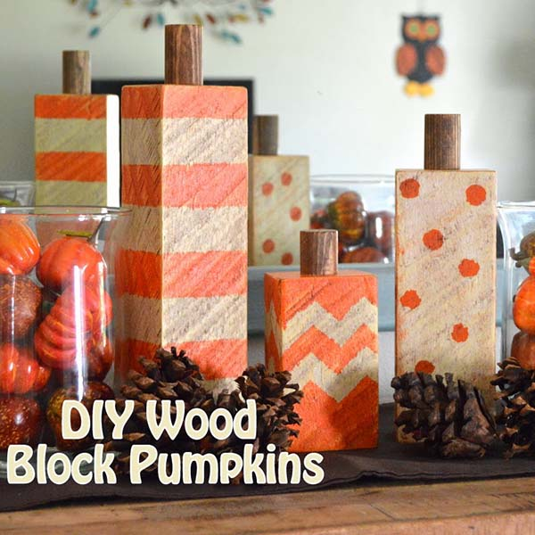 Wood block pumpkins fall craft ideas #craft #fall #falldecor #falldecorideas #decorhomeideas
