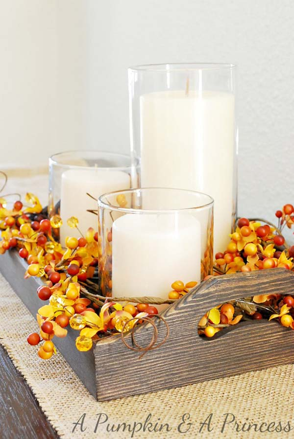 Wood tray and candles #falldecor #fallideas #candles #candlesdecor #decorhomeideas
