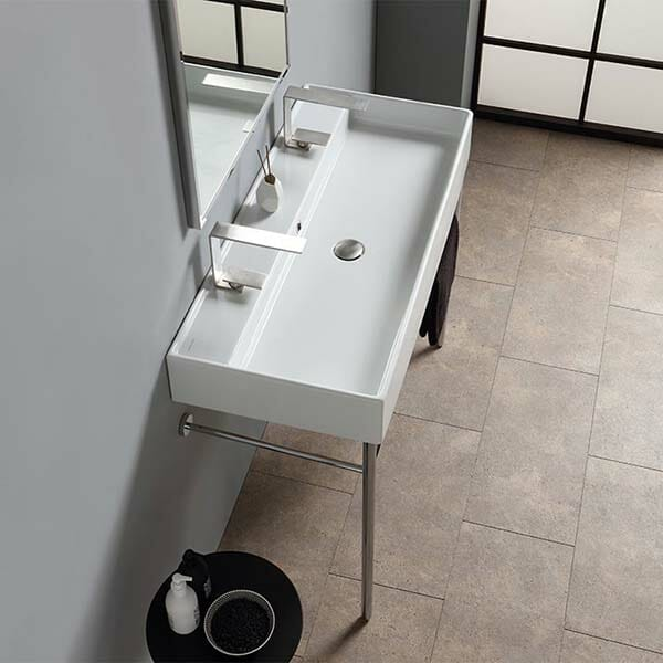 Bathroom trough sink double faucet #troughsink #sink #bathroom #bathroomsink #decorhomeideas
