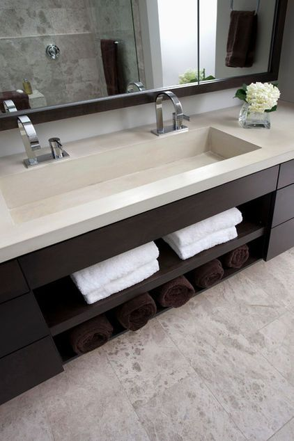 Concrete double faucet trough sink #troughsink #bathroom #sink #concretesink #bathroomideas #decorhomeideas