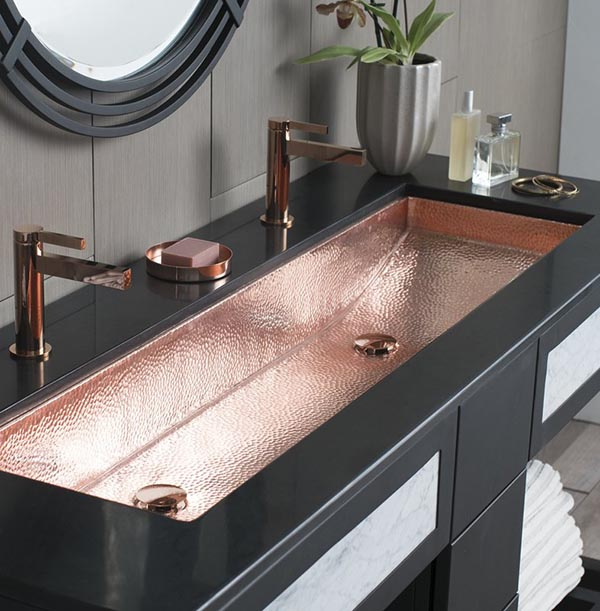 Copper trough bathroom sink #troughsink #bathroomsink #bathroom #sink #sinkmaterial #decorhomeideas