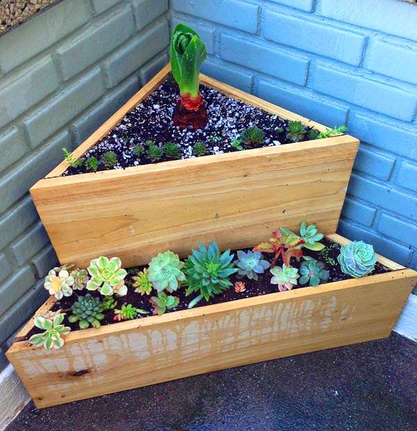 Corner design tiered planter #tieredplanter #flowerplanter #planter #flowerpot #decorhomeideas