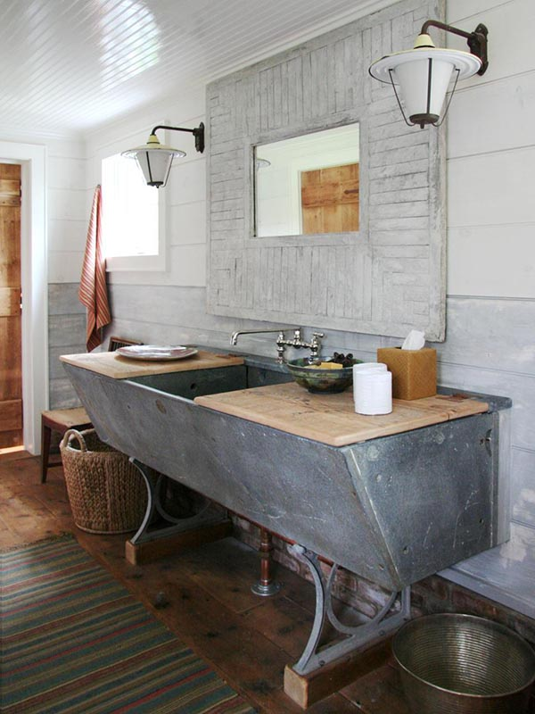 Diy concrete trough bathroom sink #troughsink #bathroom #sink #concretesink #bathroomideas #decorhomeideas