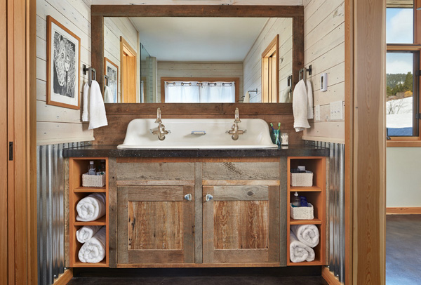 Double faucet farmhouse bathroom sink #troughsink #bathroom #farmhouse #sink #decorhomeideas