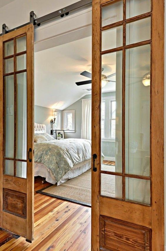 Double glass bedroom barn door #barndoor #bedroom #interior #homedecor #decorhomeideas
